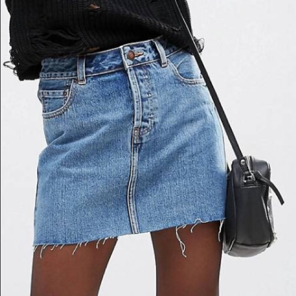 Asos Skirts Denim Low Rise Skirt In Mid Stone Wash Blue Poshmark